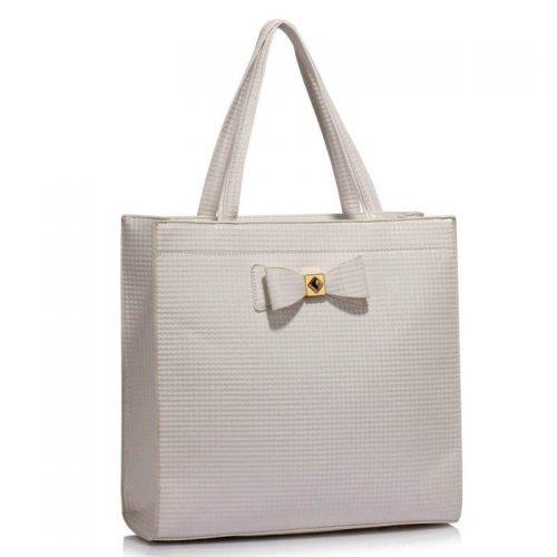 stor vit handväska