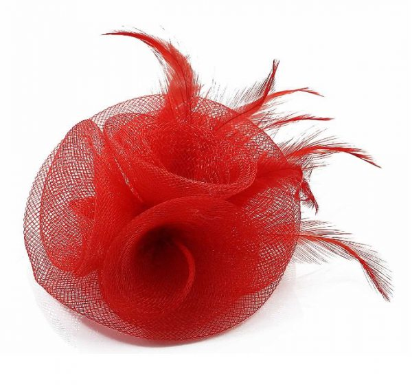 röd damhatt fascinator