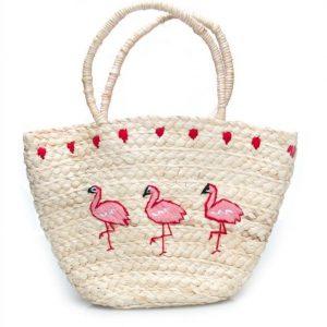 halmväska natur färg med rosa flamingo