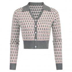 Kofta med lång ärm rosa grå