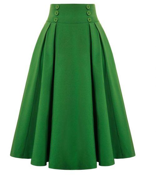 a linjeformad grön kjol