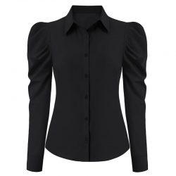 svart dam skjorta med puffärm