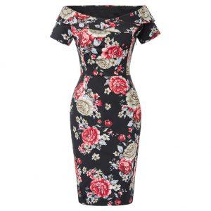 Fodralklänning svart blommig retro