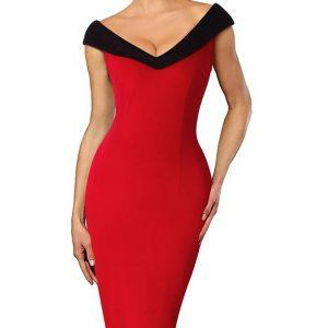 pennklänning röd v -ringad