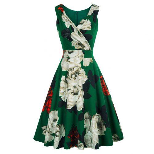 Grönblommig klänning