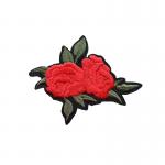 tygmärke dubbel röd ros