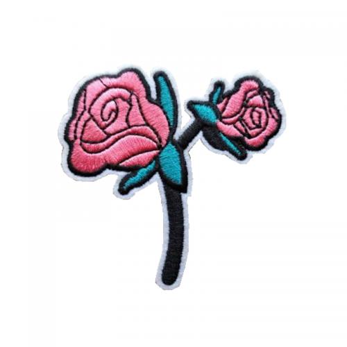 tygmärke dubbel rosa ros