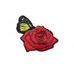 tygmärke röd ros med fjäril