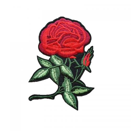 Tygmärke vacker röd ros