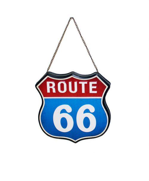 Plåt skylt route 66 blå röd