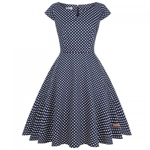 Klänning marinblå med vita prickar plus size