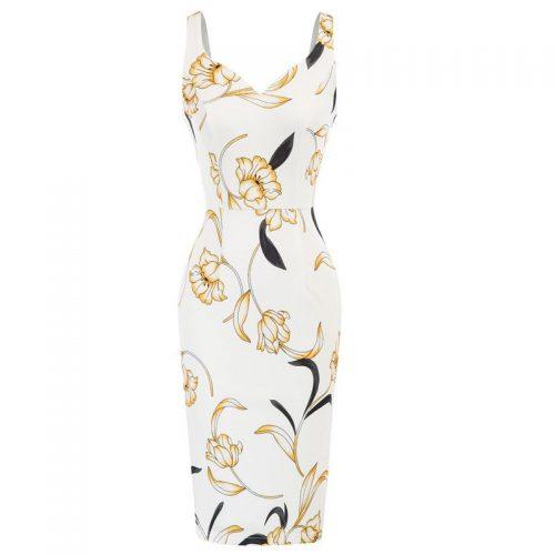 Vit blommig elegant fodralklänning