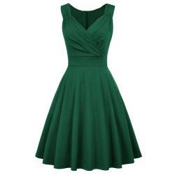 Mörkgrön enfärgad klänning