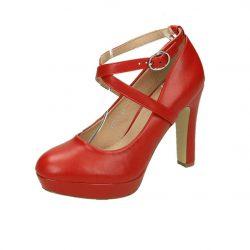 Glinder högklackad pumps röd