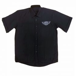 Kortärmad herrskjorta svart route 66 rockabilly