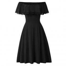 Svart singoalla klänning med spets