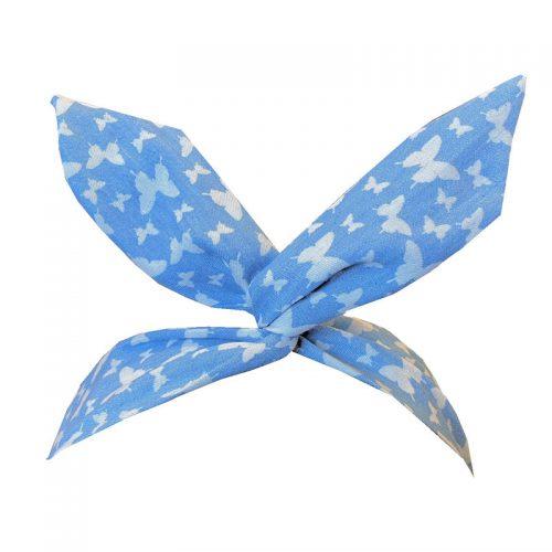 Hårband ljusblått med vita fjärilar