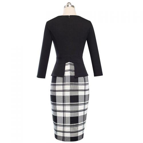 Svart Elegant fodralklänning 3/4 ärm 50 tals stil