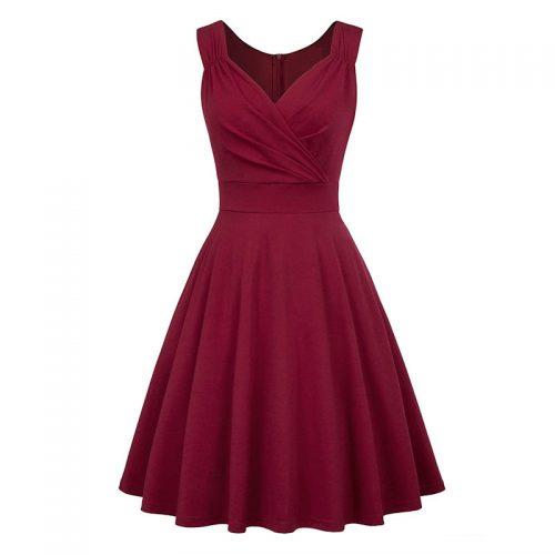 Vinröd elegant klänning marilyn