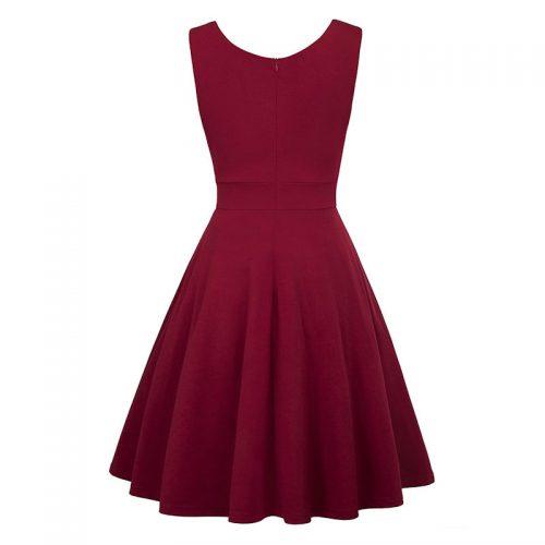 Vinröd elegant klänning marilyn bak