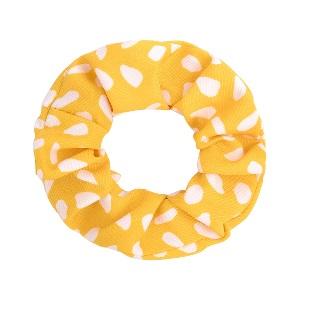 Hårsnodd gul med stora vita prickar