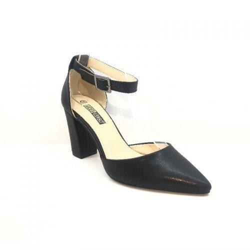Svarta eleganta damskor med ankelrem retro
