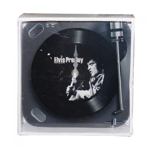Elvis väggklocka i glas svart 50 tal retro
