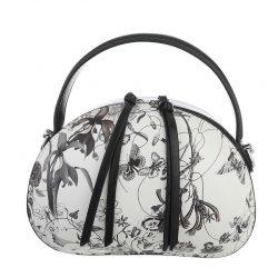 Handväska svart vit blommig retro