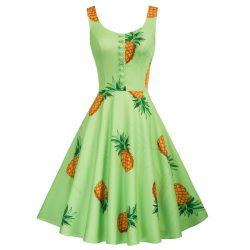 Ananas grön swingklänning 50 tal Retro