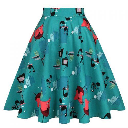 Turkos helklockad kjol med kattmönster retro