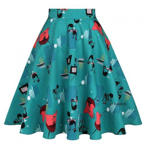 Turkos halvklockad kjol med kattmönster retro