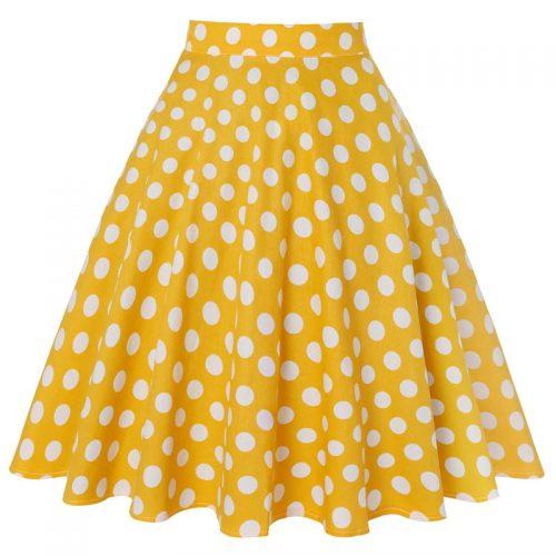 Gul kjol med prickar retro rockabilly