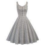 Klassisk vit och svart rutig klänning Retro