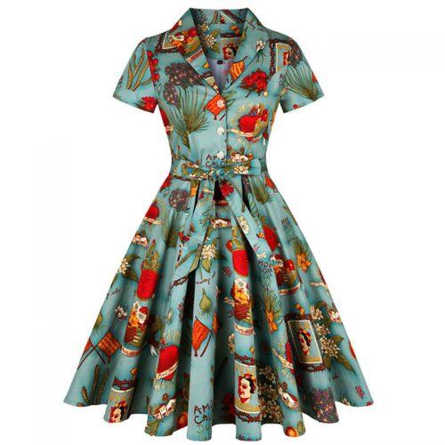 Swing klänning Maria med kort ärm retro 50 tal