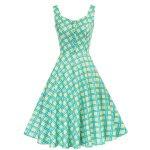 Swingklänning retro ljusgrön blå rutor 50 tal