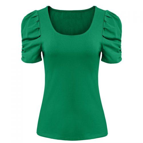 Grön damtopp med puffärm Retro