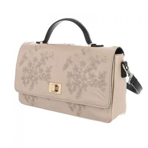 Handväska färg champagne blommig retro