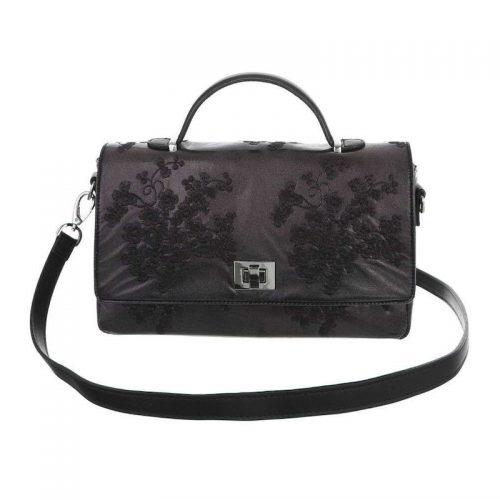 Svart handväska med broderade blommor retro