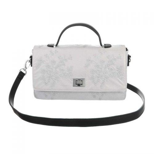 Handväska vit med broderade blommor retro