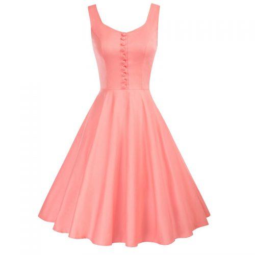 Aprikos klänning med axelband 50 tal