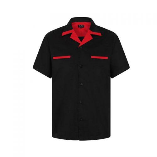 Bowling skjorta svart röd retro rockabilly