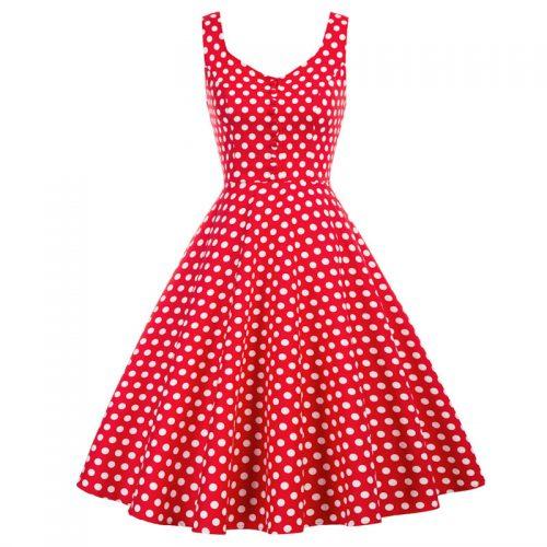 Swingklänning röd vita prickar rockablilly 50 tal