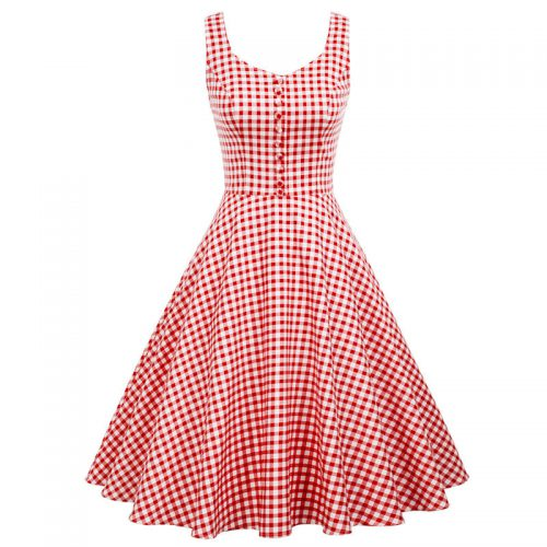 Klassisk retro klänning vit och rödrutig 50 tal