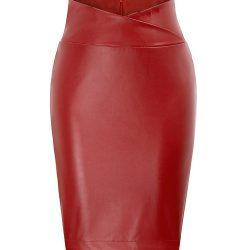 Röd kjol pennmodell konstläder retro