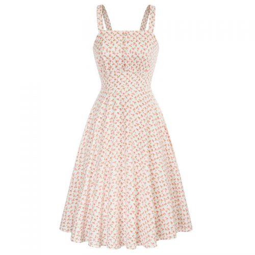 Romantisk rosa vit klänning 50 tal Retro