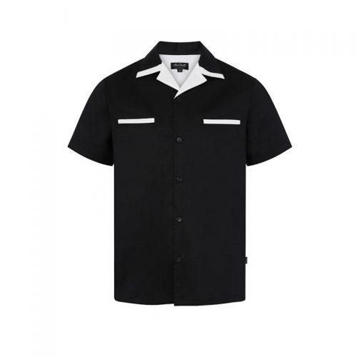 Bowling skjorta svart vit retro rockabilly