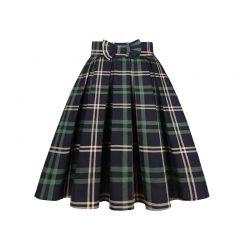 Kjol tartan mönster gröna nyanser retro