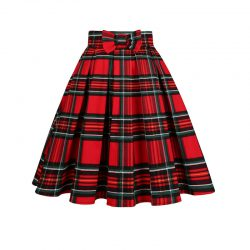 Kjol tartan mönster röda nyanser retro