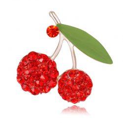 Brosch röda körsbär strass retro