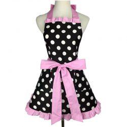 Förkläde Retro svart stora rosa prickar 50 tal retro